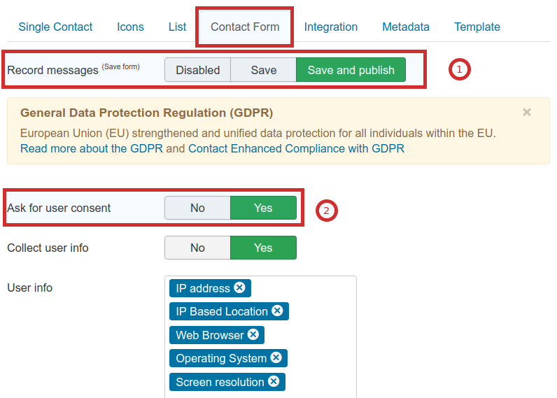 GDPR: Ask for Consent Configuration