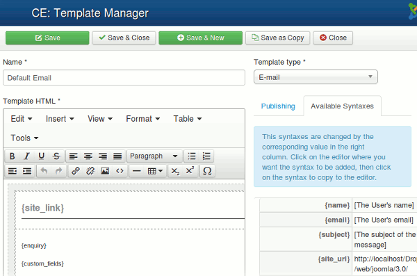 Contact Enhanced Template Manager -> Edit page