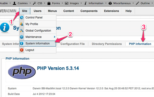 Checking PHP configuration in Joomla